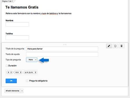campo horario google forms