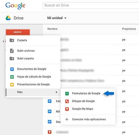 Crea un formulario con google forms