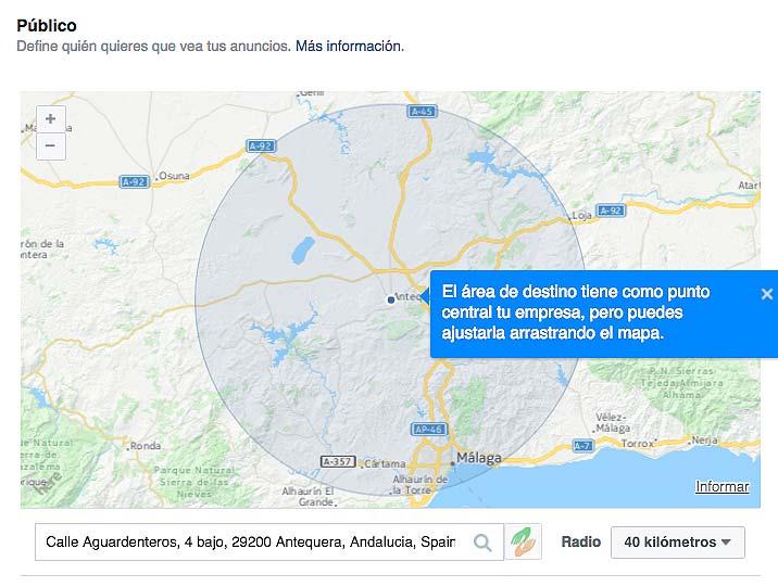 mapa ubicación negocio en facebook ads